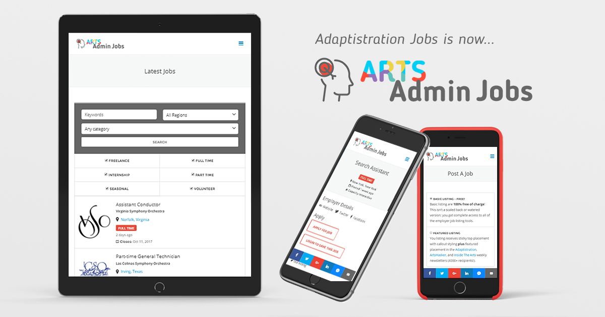 Adaptistration Jobs is now Arts Admin Jobs