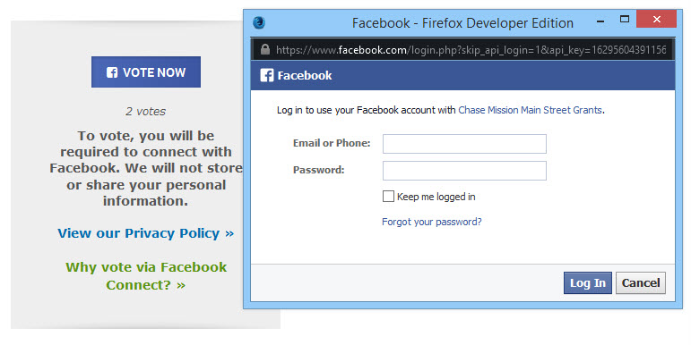 Step 2 - log in with your Facebook account.