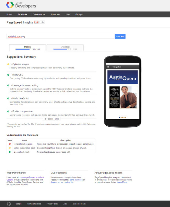 Google PageSpeed Insights for Austin Lyric Opera's' website.